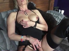 Black boots and lingerie on sexy blonde mature movies at kilotop.com