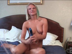 Amateur strips in hotel room and fucks a toy videos
