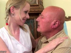 Teenage girl kissing grandpa in sexy scene movies
