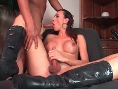 Big tits tgirl in boots blows a guy videos