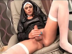 Ladyboy in nun outfit sucks cock and strokes movies at kilotop.com