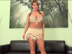Lovely ava devine strips from cute costume movies at lingerie-mania.com