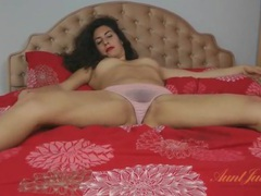Curly hair babe in beautiful pink lingerie movies at lingerie-mania.com