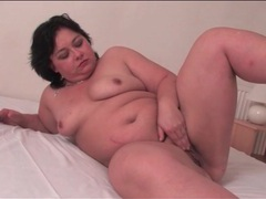 Chubby solo girl gently rubs her cunt movies at lingerie-mania.com