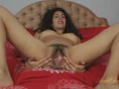 Hairy brunette beauty with long curly hair videos