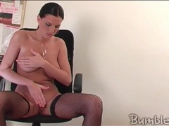 Beauty in black fishnets fucks dildo movies at kilopics.net