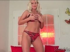 Blonde kathy anderson does sexy dancing striptease movies at lingerie-mania.com