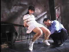 Japanese tennis girl tied up in dungeon movies at kilosex.com