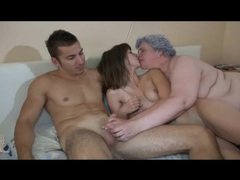 Young couple and fat granny in group porn movies