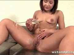 Champagne glass filled with her warm piss movies at sgirls.net
