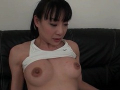 Perky boobs japanese girl sucks dildo tubes at japanese.sgirls.net
