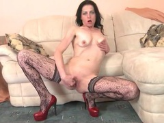 Skinny mature in patterned stockings masturbates videos