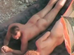 Redhead takes missionary fuck on the beach movies