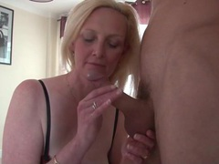 Beautiful big tits blonde mature sucks dick clip