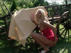 Hot blonde gets naked and blows a dildo outdoors movies at sgirls.net