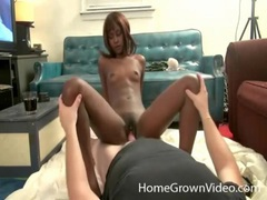 Skinny black girl filled with big white cock tubes