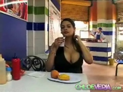 Latina with big tits eats a meal out movies at kilosex.com