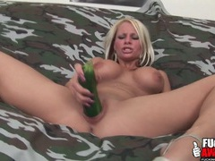 Beautiful blonde fucks her pussy with a zucchini videos