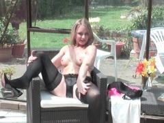Sexy black panties and stockings on blonde mom movies at sgirls.net