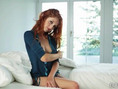 Gorgeous redhead strips and tenderly masturbates movies at relaxxx.net