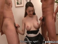 Japanese girl in uniform cums from toy sex movies at sgirls.net