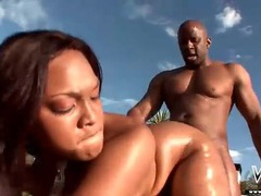 Black slut spit roasted in ebony threesome movies at sgirls.net