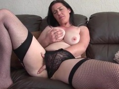 Curvy mom cutie in fishnets masturbates solo movies at sgirls.net