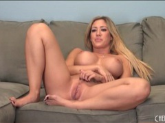 Sexy blonde pornstar with fake tits masturbates videos
