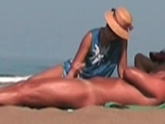 Voyeur handjob on the beach for her man videos