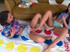 Teens play twister and share lesbian kisses videos