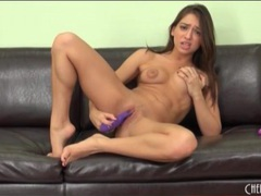 Cute brunette has sex with a purple toy movies at adipics.com