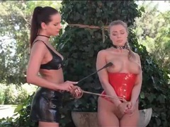 Sub girl in dog collar tied outdoors videos