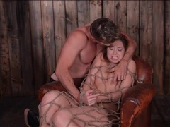 Cute girl bound by rope in his cabin videos