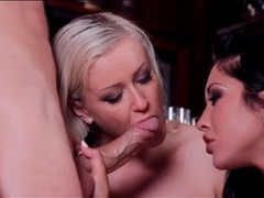 Blonde and brunette team up to suck his dick movies