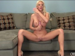 Leggy blonde bimbo with incredible fake tits videos