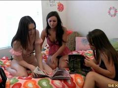 Three lesbian teens in lingerie fool around videos