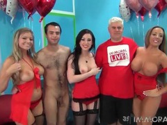 Ladies in red lingerie look hot in group porn movies at lingerie-mania.com