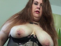 Fat mom in lingerie fondles her tits videos