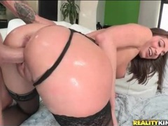 Big cock fucks beauty in sexy black stockings videos