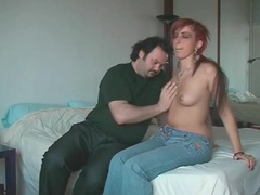 Fat ass redhead blows her hairy boyfriend tubes