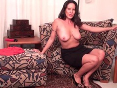 Brunette mom with saggy tits strips naked movies at freekiloporn.com