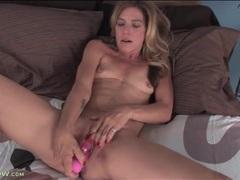Big pink dildo fucks skinny mature pussy videos