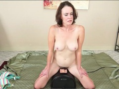Mom with great tits rides a sybian toy videos
