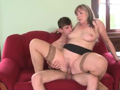 Sexy mommy in tan stockings rides his dick videos