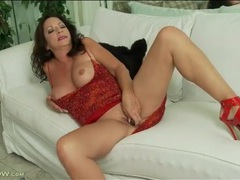 Slutty heels and sexy dress on masturbating mature videos