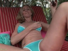 Cute blonde mom in bikini fondles tits outdoors videos