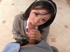 Japanese teen in pleated skirt sits on a dick tubes at lingerie-mania.com