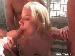Horny mom spit roasted in threesome scene movies at lingerie-mania.com