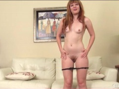 Cute redhead in shiny high heels masturbates videos