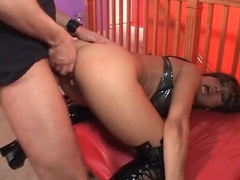 Cuffed bitch in slutty latex boots fucked from behind movies at lingerie-mania.com